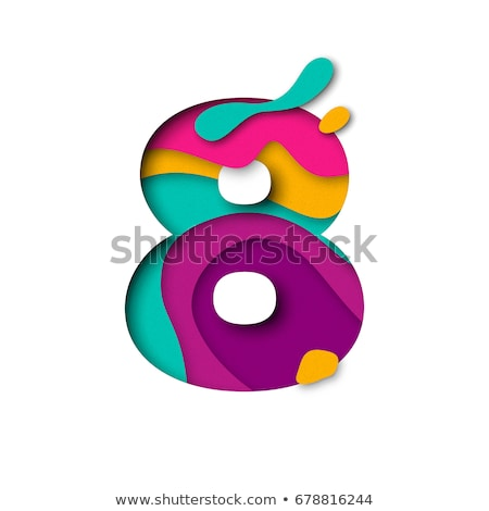 Multi color layers font Number 8 EIGHT 3D Stock photo © djmilic
