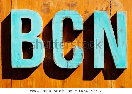 文字 略語 バルセロナ 淡い 青 木製 ストックフォト © nito