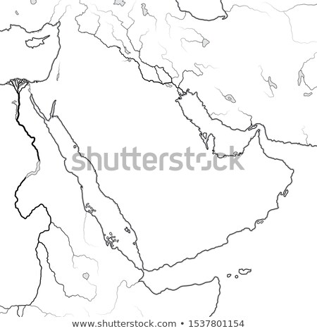 World Map of ARABIAN PENINSULA: Middle East, Saudi Arabia, Iraq, Persian Gulf, The Emirates. Chart. Stock photo © Glasaigh