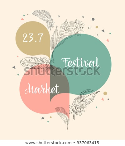 Bohemian style poster with gypsy colorful feathers Stock photo © marish