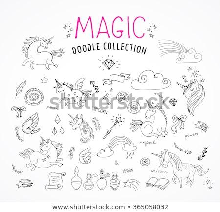 パステル · 色 · スケッチ · セット · 白 · 魔法 - ストックフォト © marish