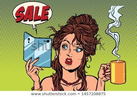 Nő iszik kávé tea okostelefon rugalmas Stock fotó © rogistok