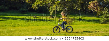 happy kid boy of 5 years having fun in the park with a bicycle on beautiful day banner long format stock photo © galitskaya
