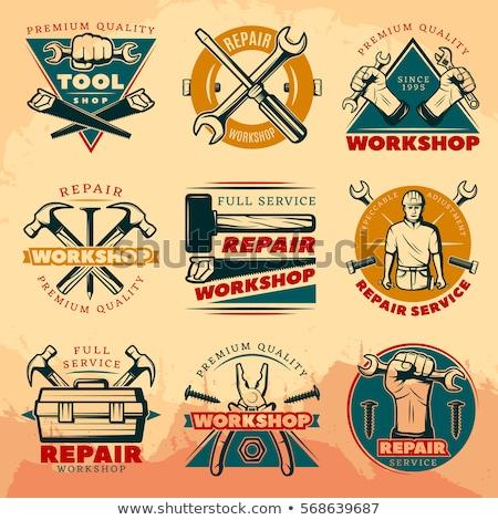 Vintage repair workshop emblems Stock photo © netkov1