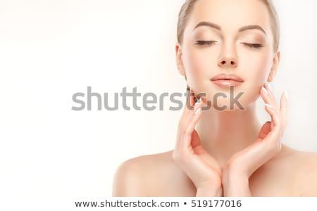 Belo mulher jovem limpar fresco pele tocar Foto stock © serdechny