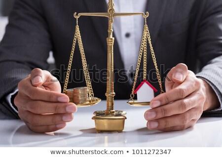 egymásra · pakolva · érmék · ház · modell · egyensúlyoz · igazság - stock fotó © andreypopov