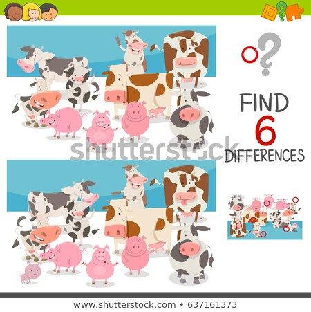 differences game with farm animal characters Stock photo © izakowski