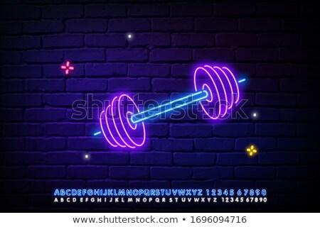 Sportowiec sztanga neon w stylu retro ilustracja Zdjęcia stock © patrimonio