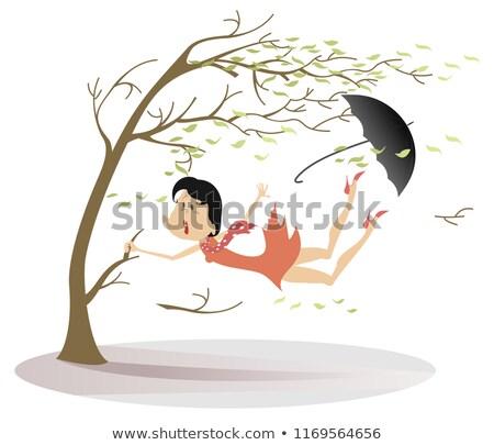 Strong wind, rain and woman with umbrella illustration Stock photo © tiKkraf69