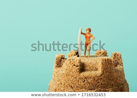 Minyatür kadın sandcastle mayo Stok fotoğraf © nito