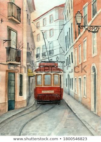 Aquarela bonde Lisboa ilustração histórico amarelo Foto stock © unkreatives