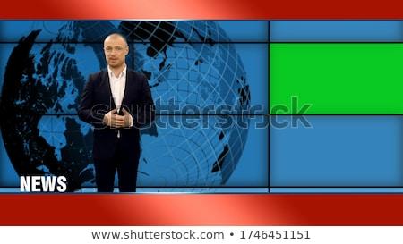 Tv hírek horgony pop art retro rajz Stock fotó © studiostoks