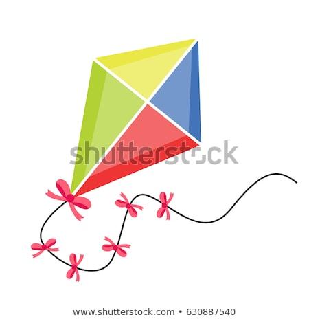 Rajz papírsárkány illusztráció boldog mosolyog gemkapocs Stock fotó © bennerdesign