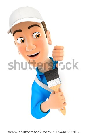 3d painter behind left wall and holding paint brush Stock photo © 3dmask