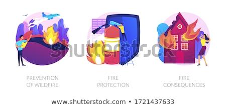 Megelőzés futótűz vészhelyzet szolgáltatás tűzoltó karakter Stock fotó © RAStudio