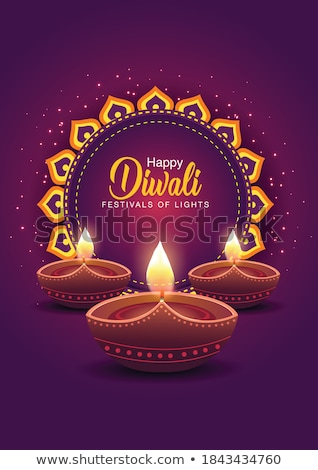 creative diya design purple happy diwali banner Stock photo © SArts