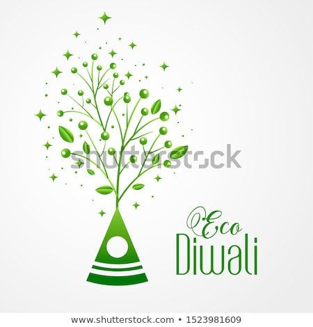 happy green eco diwali leaves background stock photo © sarts