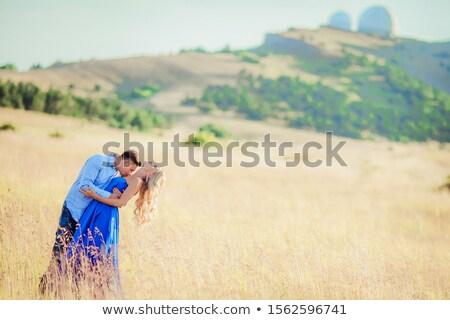 férfi · szeretett · nő · szőke · nő · hosszú · haj · visel - stock fotó © ElenaBatkova