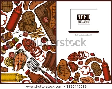 Churrasco grelha molho vetor realista salsicha Foto stock © frimufilms
