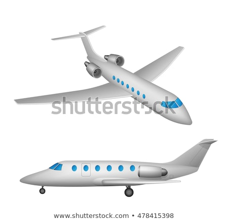 Small Private Jet Aircraft Flying Isolated Vector Illustration Stock photo © jeff_hobrath