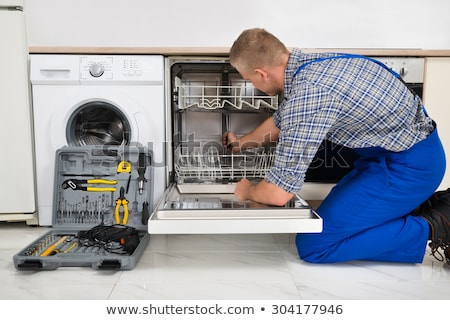 Adam tamir bulaşık makinesi fotoğraf Stok fotoğraf © AndreyPopov