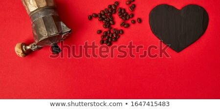 Banner koffiezetapparaat koffiebonen Rood liefde koffie Stockfoto © Illia