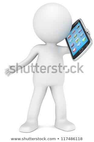 Stock photo: 3d small people - smartphone