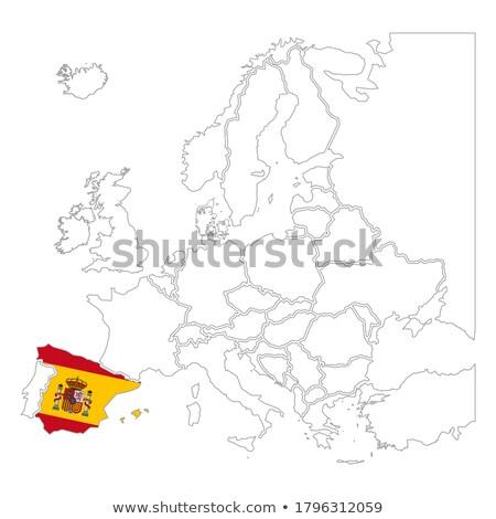 Detalhado Espanha silhueta bandeira contorno europa Foto stock © evgeny89