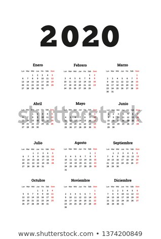 Calendar on 2020 year with week starting from monday, A4 size vertical sheet isolated on white Stock photo © evgeny89