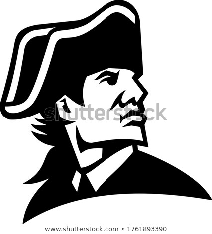 American Revolution General Looking to Side Mascot Black and White Stock photo © patrimonio