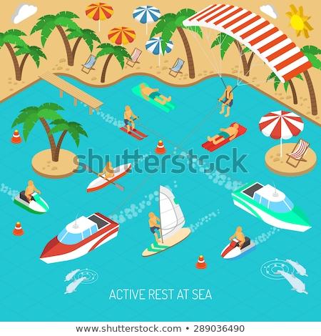 надувной лодка изометрический икона вектора знак Сток-фото © pikepicture