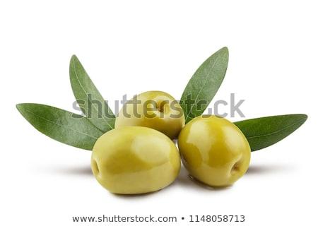 Olajbogyók olajbogyó ág zöld levelek izolált fehér Stock fotó © cidepix