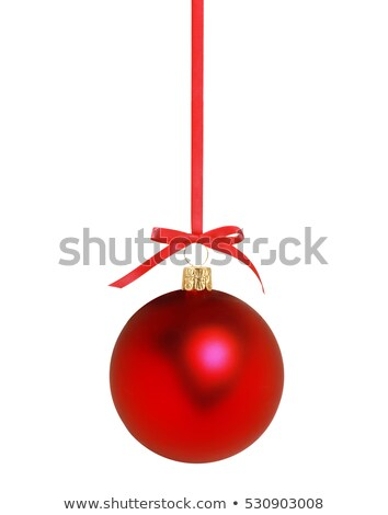 christmas silver bauble and red ribbon on ice stock photo © lunamarina