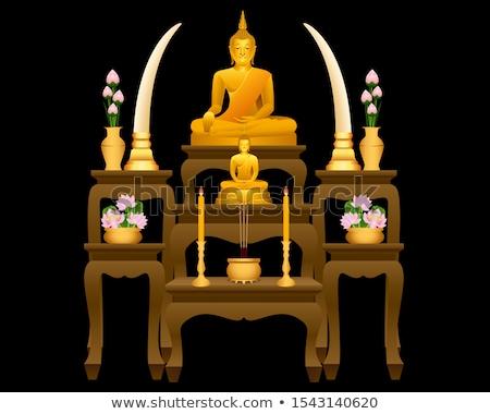 Arany szerzetes szobor ázsiai templom művészet Stock fotó © smithore