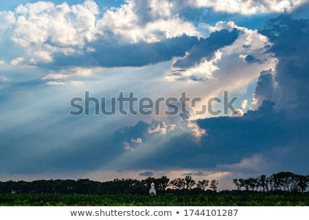 Religijnych krzyż chmury niebiański promienie Zdjęcia stock © Balefire9