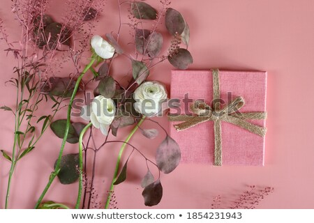 Stock photo: gift card with flowers and ribbon