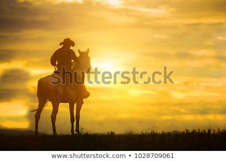 perigo · vaqueiro · americano · chapéu · de · cowboy · fumar · charuto - foto stock © dazdraperma