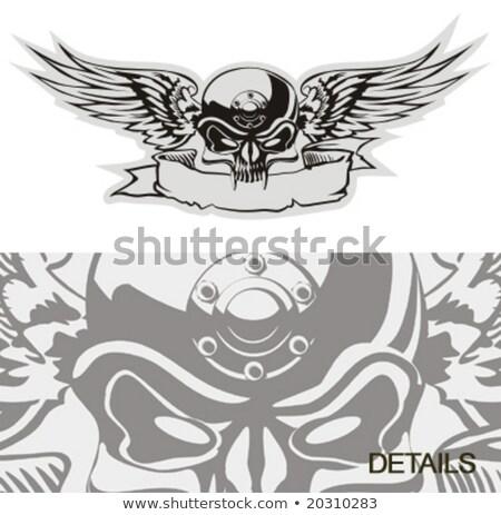 Skull With Wings At Gray Basis Stock fotó © Mechanik