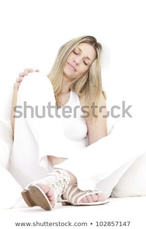 сидят женщину белый одежды сандалии Сток-фото © phbcz