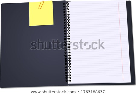 Black Notebook open on white background with clipped yellow none Stock photo © leonido