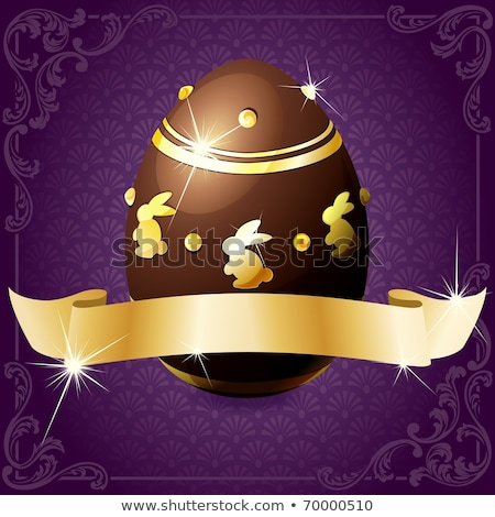 elegant banner with chocolate egg in purple gold stock photo © karolinal