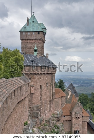 cloudy scenery around haut koenigsbourg castle stock photo © prill