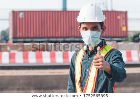 熱狂的な · エンジニア · 笑顔 · 男 · 歯 · 帽子 - ストックフォト © photography33