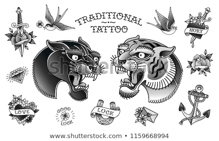Panther head tattoo Stock photo © dagadu