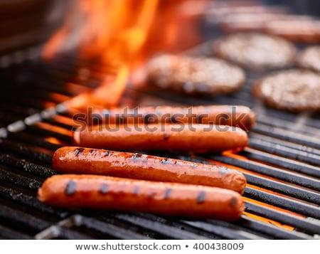 Sıcak köpekler bbq ekmek akşam yemeği yağ Stok fotoğraf © jeremywhat