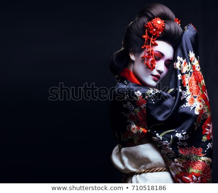 bastante · menina · make-up · morena · sorridente - foto stock © oneinamillion