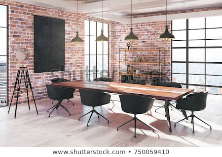 Modern Red Chair in Empty Interior with Billboard on the Wall stock photo © maxpro