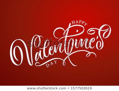 Valentine texto corações três vermelho bandeira Foto stock © samsem