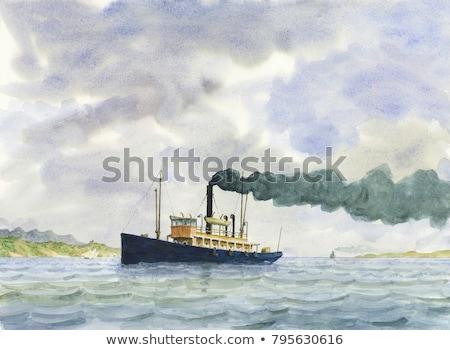 grande · Cartoon · buque · de · vapor · océano · viaje · barco - foto stock © genestro