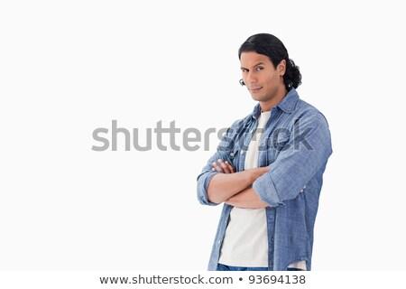 Człowiek broni brew biały niebieski Zdjęcia stock © wavebreak_media